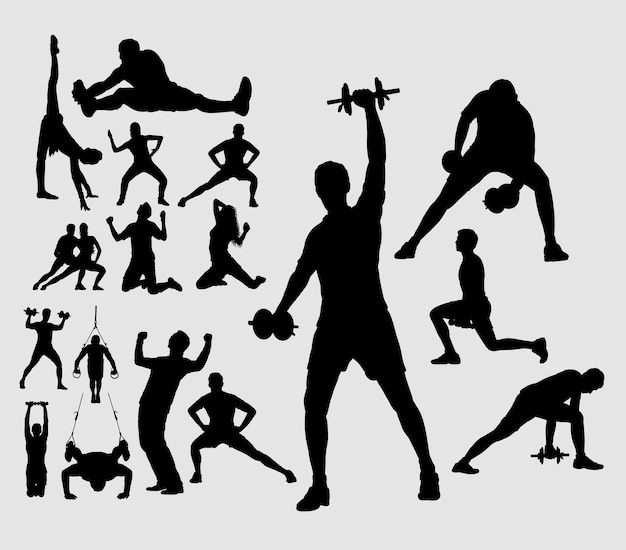 Fitness, training, exercise, dance, and aerobic male and female sport silhouette