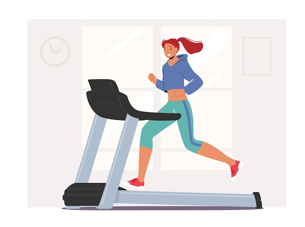 Fitness training in gym. athletic woman running on treadmill. beautiful young girl character in sportswear exercising to be slim. healthy lifestyle, active sport life. cartoon vector illustration