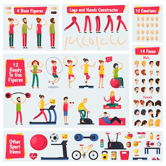 Fitness training people character costruttore