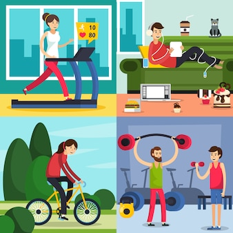Fitness training people icon set