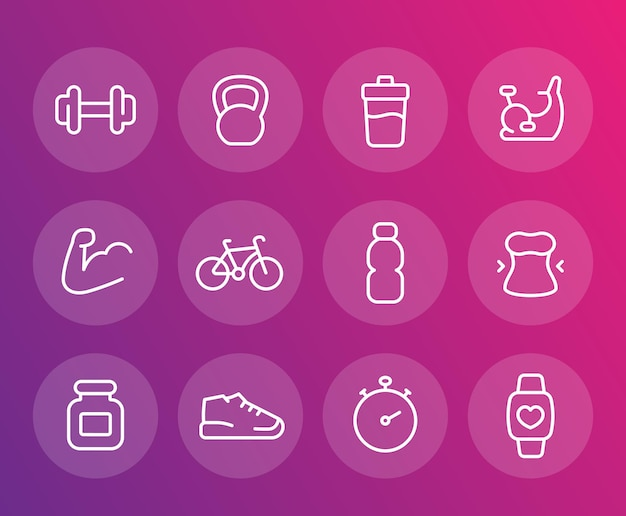 Fitness, training vector icons, linear set