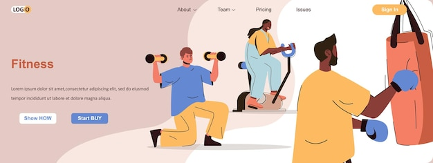 Fitness training web concept men and women exercising in gym healthy lifestyle