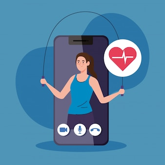 Fitness, training and workout app, woman practicing sport in smartphone, sport online