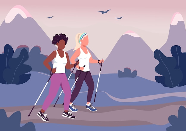 Fitness trend flat color . jogging, racewalking. nording walking. trail running. girls enjoy sports activity 2d cartoon faceless characters with mountain terrain on background