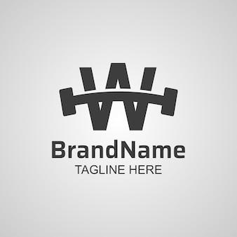 Fitness w letter typography logo design