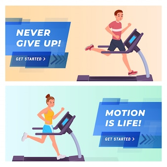 Fitness website landing page flat set