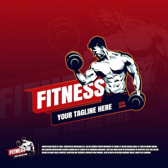 Fitness with muscular hand holding dumbbell logo template