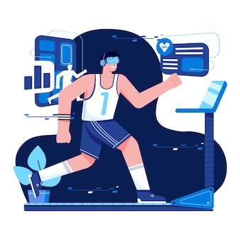 Фитнес с vr плоской иллюстрацией