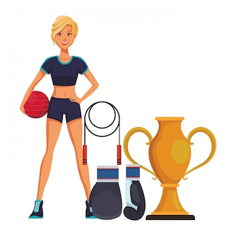 Fitness woman cartoon