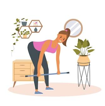 居間でデッドリフト運動をしているフィットネス女性。