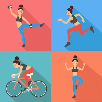 Fitness woman exercises in flat style