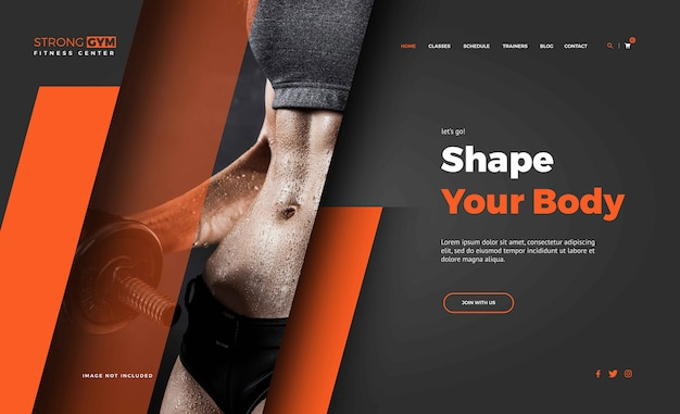 Fitness woman landing page templates
