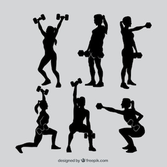 Коллекция силуэтов фитнес-женщин