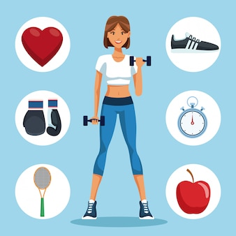 Fitness woman with sport round symbols