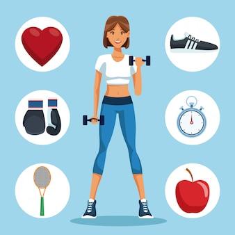 Fitness woman with sport round symbols Premium Vector