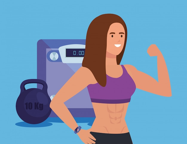 Fitness woman with weight machine and dumbbell over blue