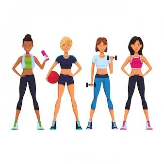 Fitness women cartoon