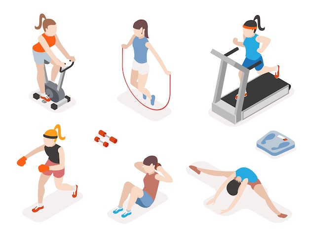 Женщины фитнеса в тренажерном зале, тренировки гимнастики и упражнения йоги. 3d изометрические иконки. спортсмены, здоровье и прыжки со скакалкой,