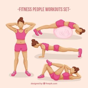 フィットネス女性のトレーニングセット