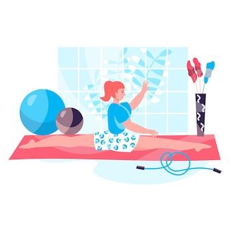 Концепция тренировки фитнеса. женщина сидит в шпагате и делает гимнастические упражнения. активный спорт, велнес, бодибилдинг, сцена с персонажами пилатеса. векторная иллюстрация в плоском дизайне с деятельностью людей