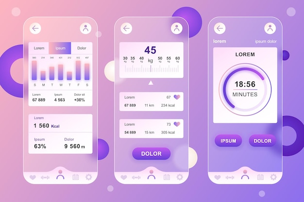 Fitness workout glassmorphic design neumorphic elements kit for mobile app ui ux gui screens set