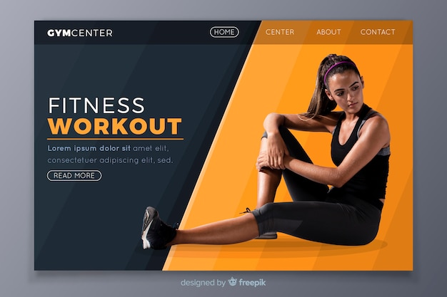 Fitness workout gym promotion landing page
