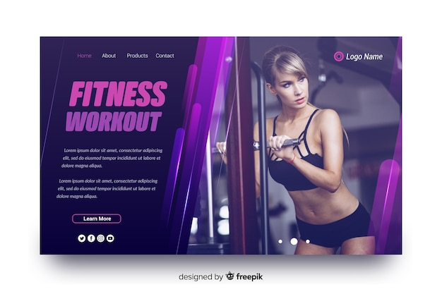 Fitness workout sport landing page