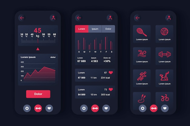Fitness workout unique neomorphic  kit for app. choice of fitness program, health monitoring and current activity level. sport planner ui, ux template set. gui for responsive mobile application.