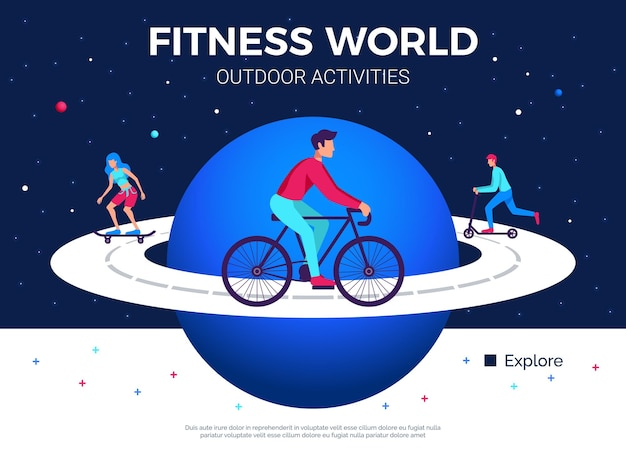 Fitness world outdoor physical activities illustration with people cycling skating on planet equator road