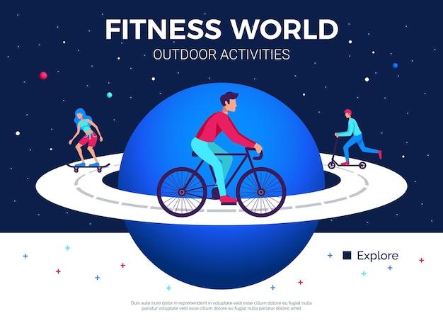 Illustrazione di attività fisiche all'aperto del mondo di forma fisica con la gente che pattina in bicicletta sulla strada dell'equatore del pianeta