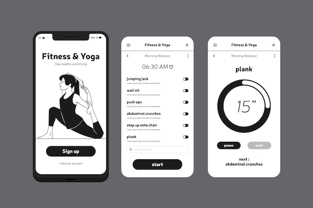 Fitness and yoga mobile phone app