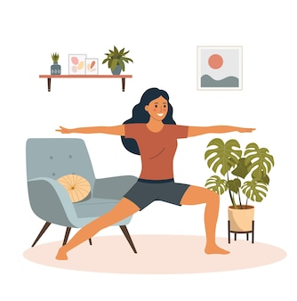 Fitness young woman in yoga  pose in the living room.