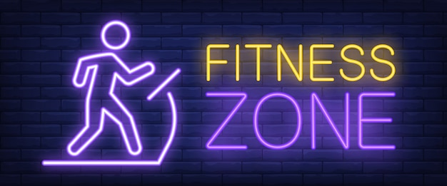 Fitness zone neon sign. glowing bar lettering