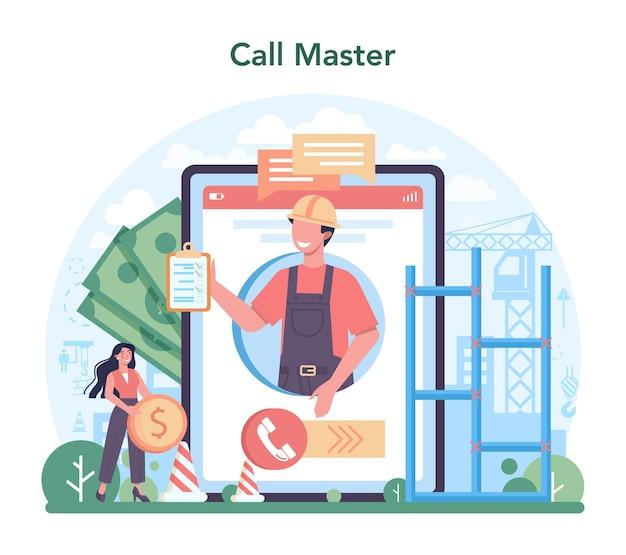 Fitter or installer online service or platform. online call to master. flat vector illustration