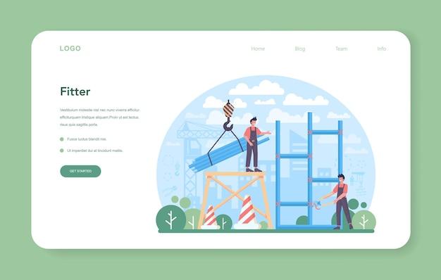 Fitter or installer web banner or landing page. industrial builder