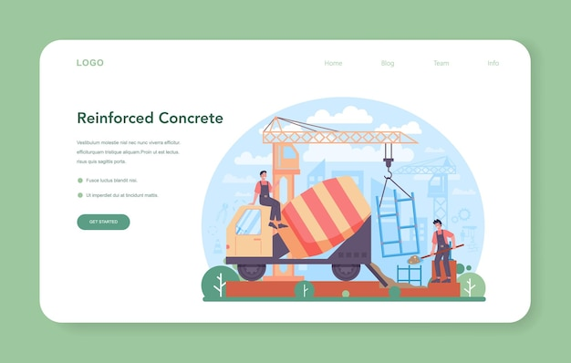 Fitter installing a reinforced concrete structures web banner or landing page