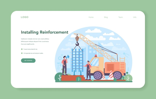 Fitter installing a reinforcement web banner or landing page. industrial builder at the construction site. city development, constructing home with tools and materials. flat vector illustration