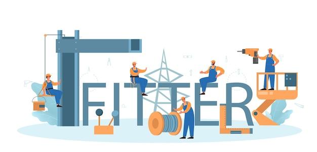 Fitter typographic header. worker in uniform installing constructions.