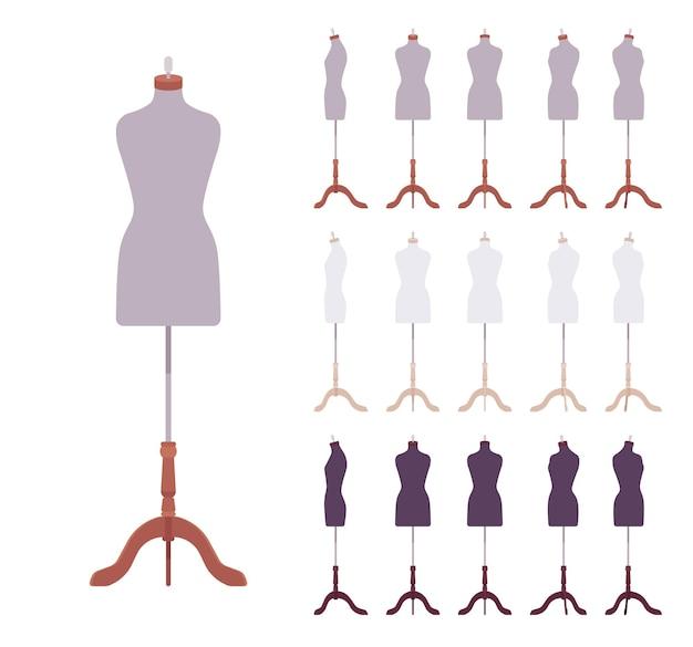 木製の三脚ベーススタンドにマネキンボディの胴体を形成するフィッティングドレス