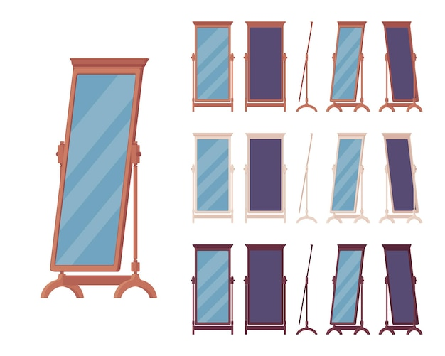 Fitting floor mirror, full-length dressing room or bedroom standing decorative element in a classic wooden design. full body horizontal vector flat style cartoon illustration, different view and color