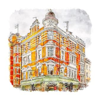 Фицровия лондон акварельный эскиз рисованной иллюстрации
