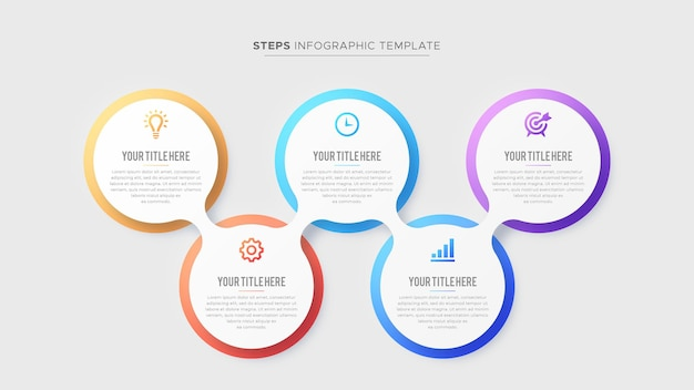 Five 5 steps options business infographic modern design template