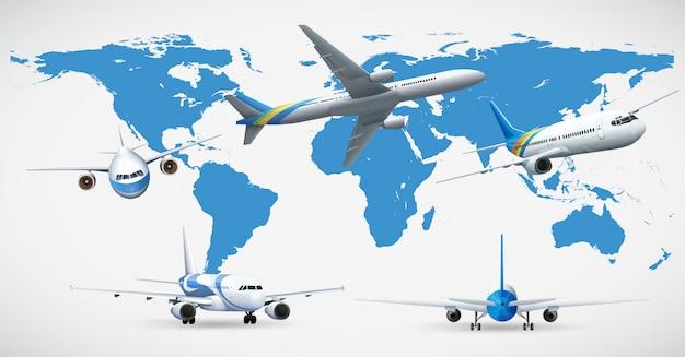 5つの飛行機と青い地図