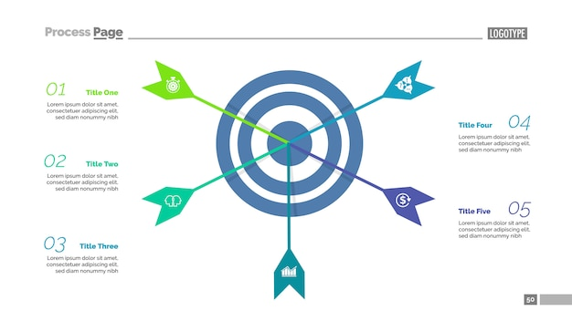 Five arrows hitting target process chart template. business data visualization.