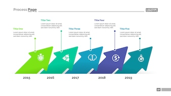 Five arrows timeline process chart template. Business data.