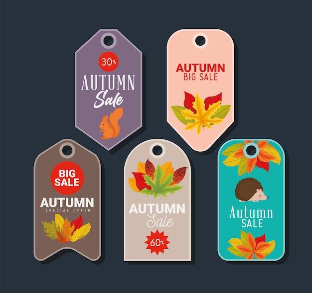 5つの秋のセールタグ