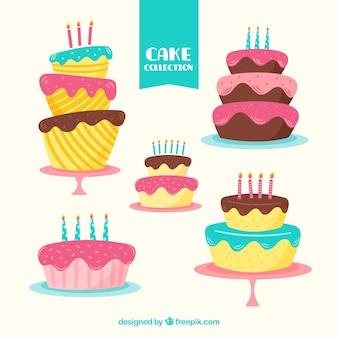 Five birthday cakes