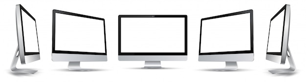 Five black computer monitor with white display in turn - stock
