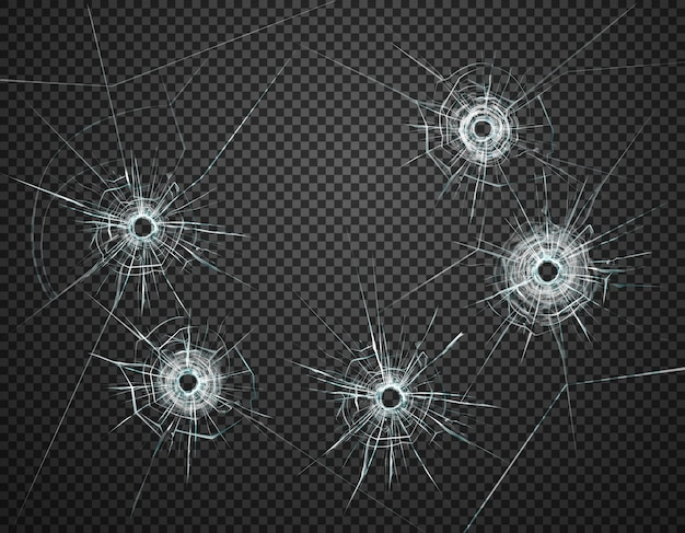 Five bullet holes in glass closeup realistic image against dark transparent background  illustration