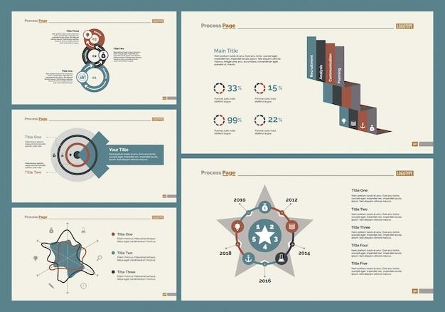 Set di cinque modelli di diapositive aziendali